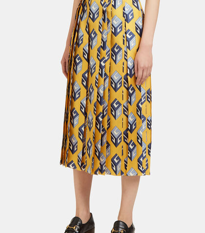 GG Wallpaper Print Pleated Skirt by Gucci