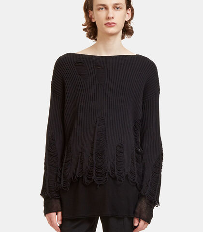 Peeling Crew Neck Ribbed Knit Sweater by Yang Li