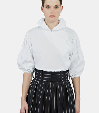 Ruched Sleeve Fan Collared Blouse by J.W. Anderson
