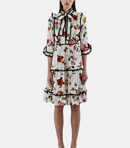 Floral Ruffle Tiered Dress by Gucci