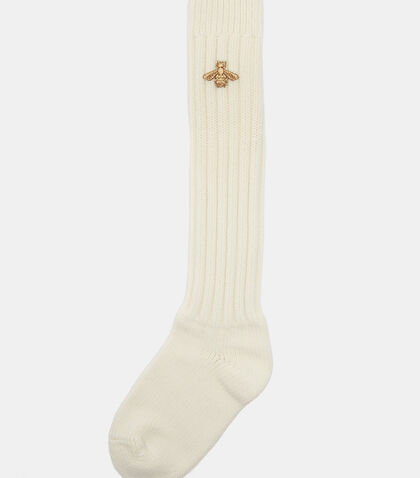 Metallic Bee Motif Stretch Wool Socks by Gucci
