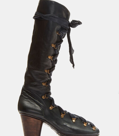 Lace-Up Open Leather Boots by Atelier Inscrire