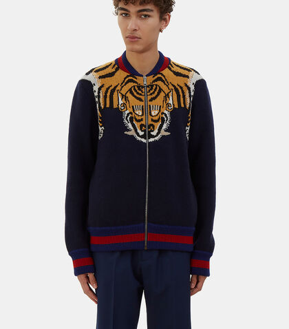 Tiger Intarsia Knit Bomber Jacket by Gucci