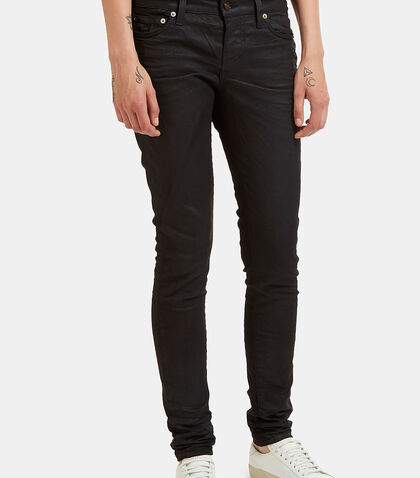 5 Pocket Treated Skinny Jeans by Saint Laurent