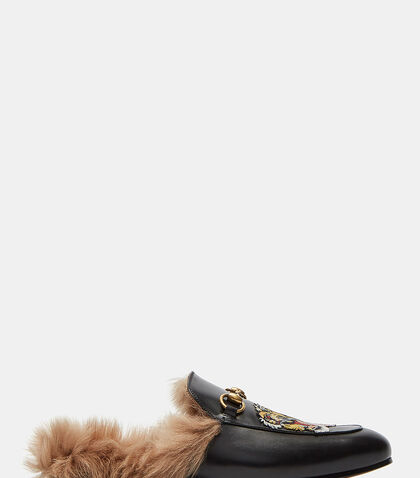 Princetown Tiger Embroidered Fur Slip-On Loafers by Gucci
