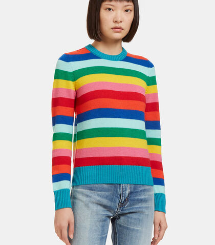 Multicolour Striped Crew Neck Sweater by Saint Laurent