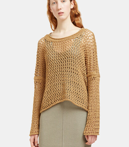 Oversized Open Knit Scoop Neck Sweater by Lauren Manoogian