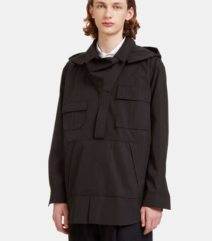Oversized Hooded Poplin Shirt by Aganovich