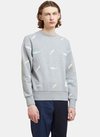 Buy Shark Embroidered Zipped Sweater by Thom Browne men clothes online