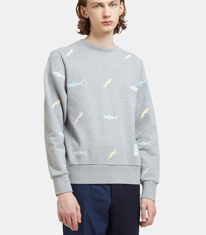 Shark Embroidered Zipped Sweater by Thom Browne