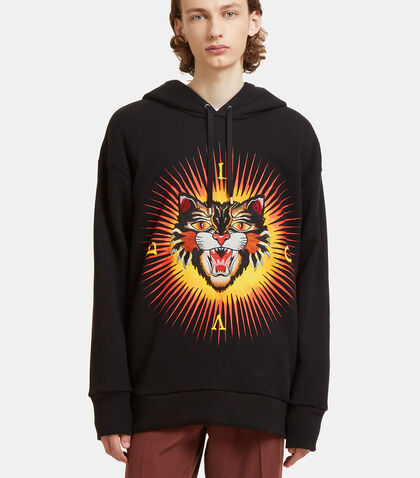 Angry Cat Embroidered Hooded Sweater by Gucci