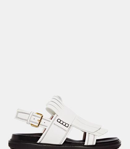 Leather Fringe Sandals by Marni