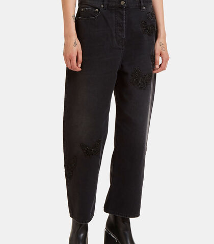 Butterfly Embroidered Boyfriend Jeans by Valentino