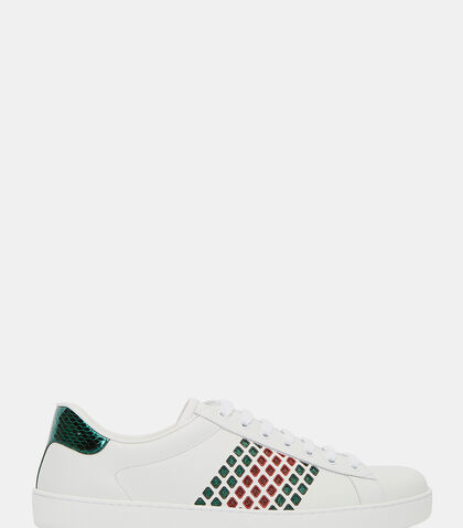 Ace Leather Low Metallic Cut-Out Sneakers by Gucci