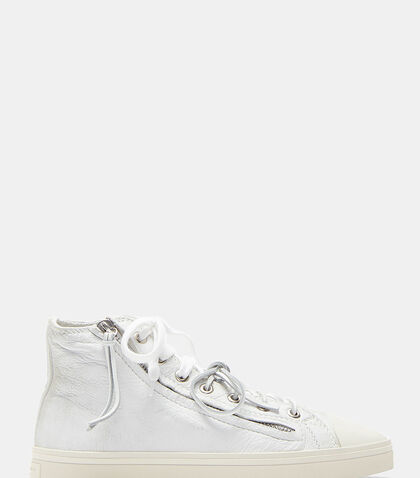 Rivington Worn Zip-Up Mid-Top Sneakers by Saint Laurent