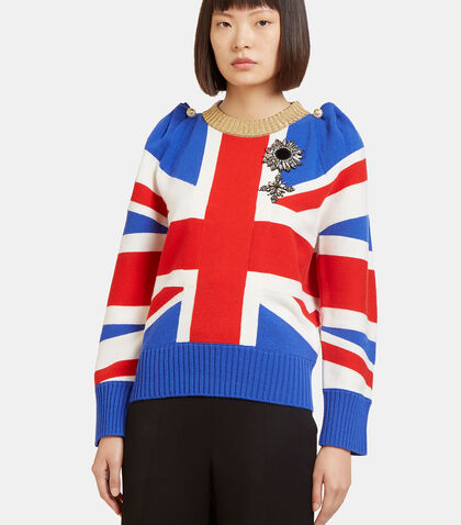 Union Jack Intarsia Wool Knit Top by Gucci
