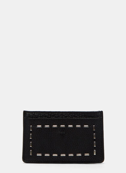 Buy Romano Stapled Grained Leather Card Case by Fendi men clothes online