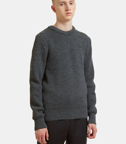 Ribbed Knit Crew Neck Sweater by Ami