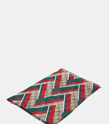 GG Chevron Print Silk Scarf by Gucci
