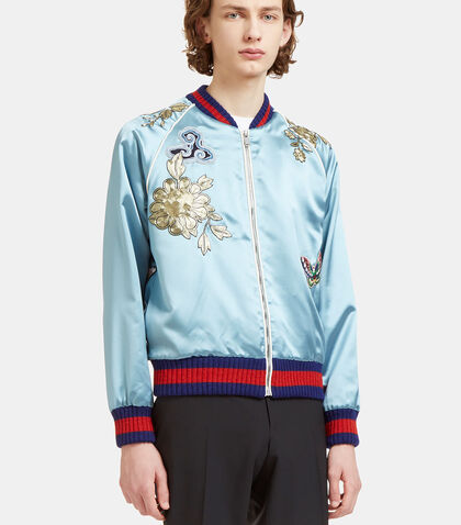 Embroidered Silk Teddy Bomber Jacket by Gucci