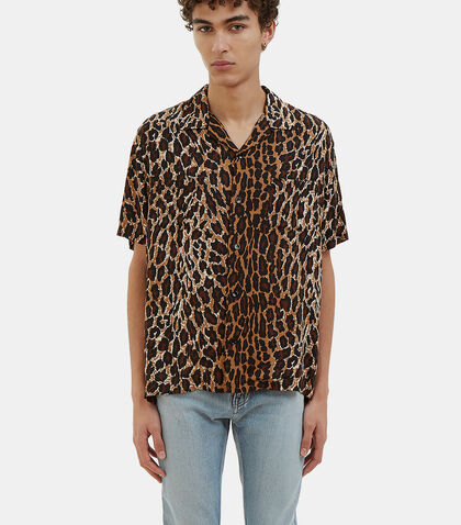 Leopard Print Short Sleeved Shirt by Saint Laurent