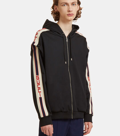 Gucci Striped Technical Jersey Hooded Sweater by Gucci
