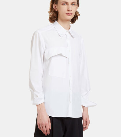Asymmetric Cuffed Poplin Shirt by Aganovich