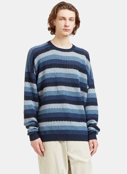 Buy Oversized Striped Crew Neck Knit Sweater by E.Tautz men clothes online