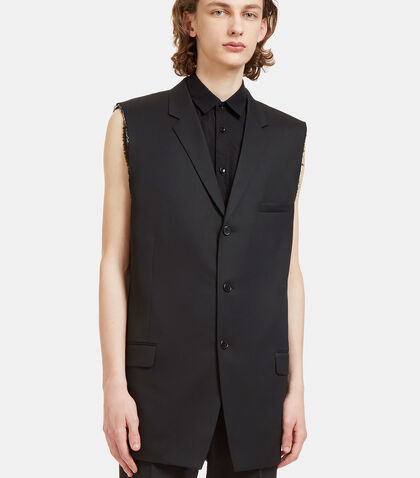 Raw-Edged Sleeveless Tuxedo Jacket by Saint Laurent