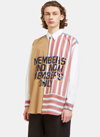 Buy Oversized Members Print Striped Patchwork Shirt by Stella McCartney men clothes online