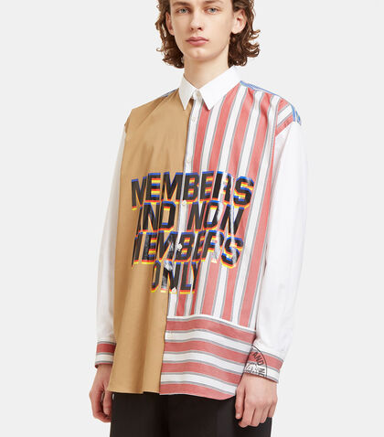 Oversized Members Print Striped Patchwork Shirt by Stella McCartney