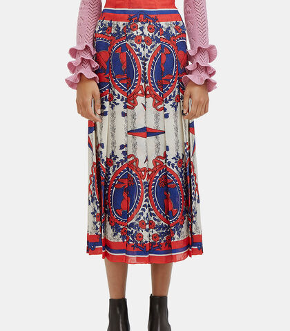 Scarf Print Pleated Skirt by Gucci