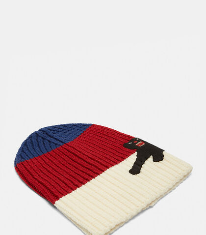Striped Panther Appliqué Beanie Hat by Gucci