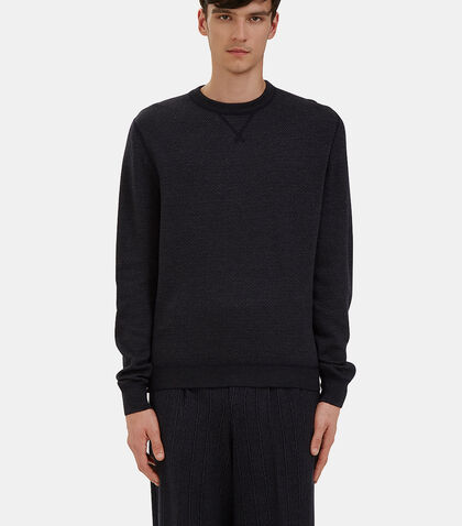 Crew Neck Zigzag Knit Sweater by Ermenegildo Zegna