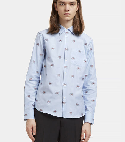 Embroidered Elephant Checked Shirt by Gucci