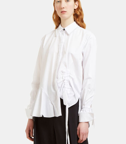 Abe Ruched Detail Chain Collared Shirt by Preen