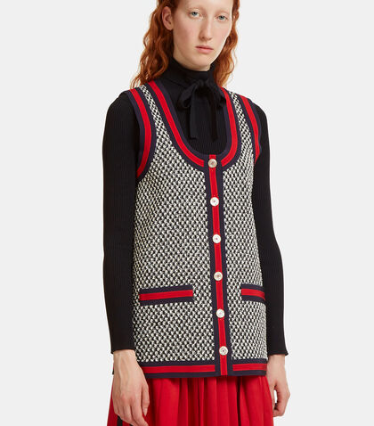 Oversized Web Tweed Vest by Gucci