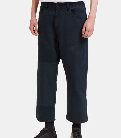 Patched Straight Leg Denim Pants by Olderbrother