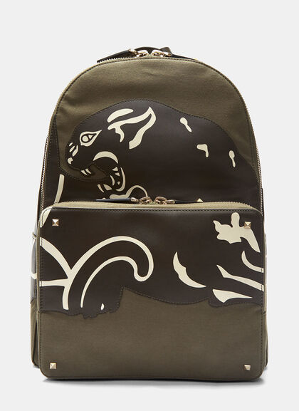 Buy Leather Panther Patch Backpack by Valentino men clothes online