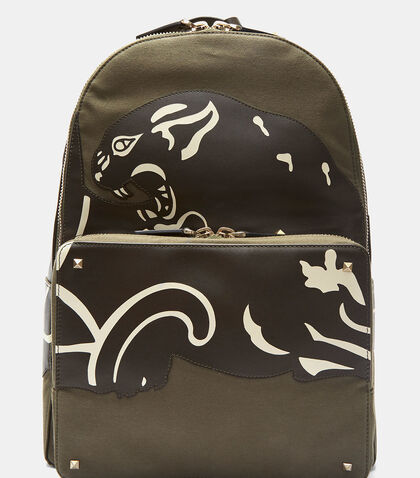 Leather Panther Patch Backpack by Valentino