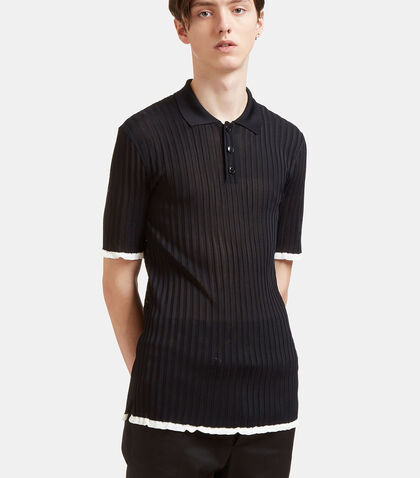 Raw-Edged Rib Polo Shirt by Valentino