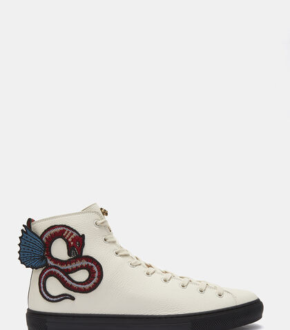 Serpent Embroidered High-Top Sneakers by Gucci