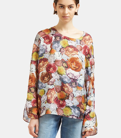 Brenna Floral Print Silk Blouse by Acne Studios