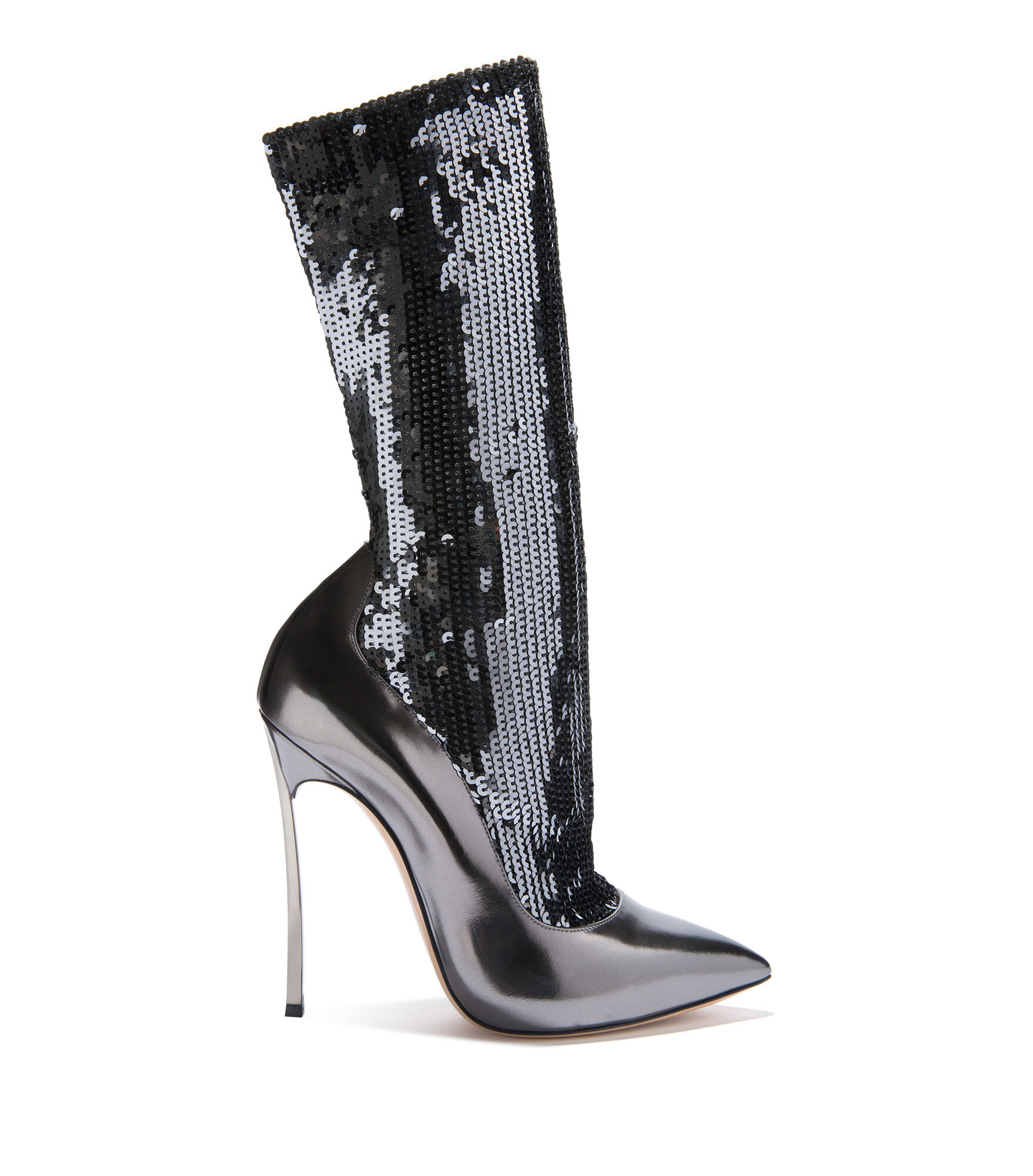 Casadei Ankle Boots - Blade Zinc Elasticated socks covered in sequins