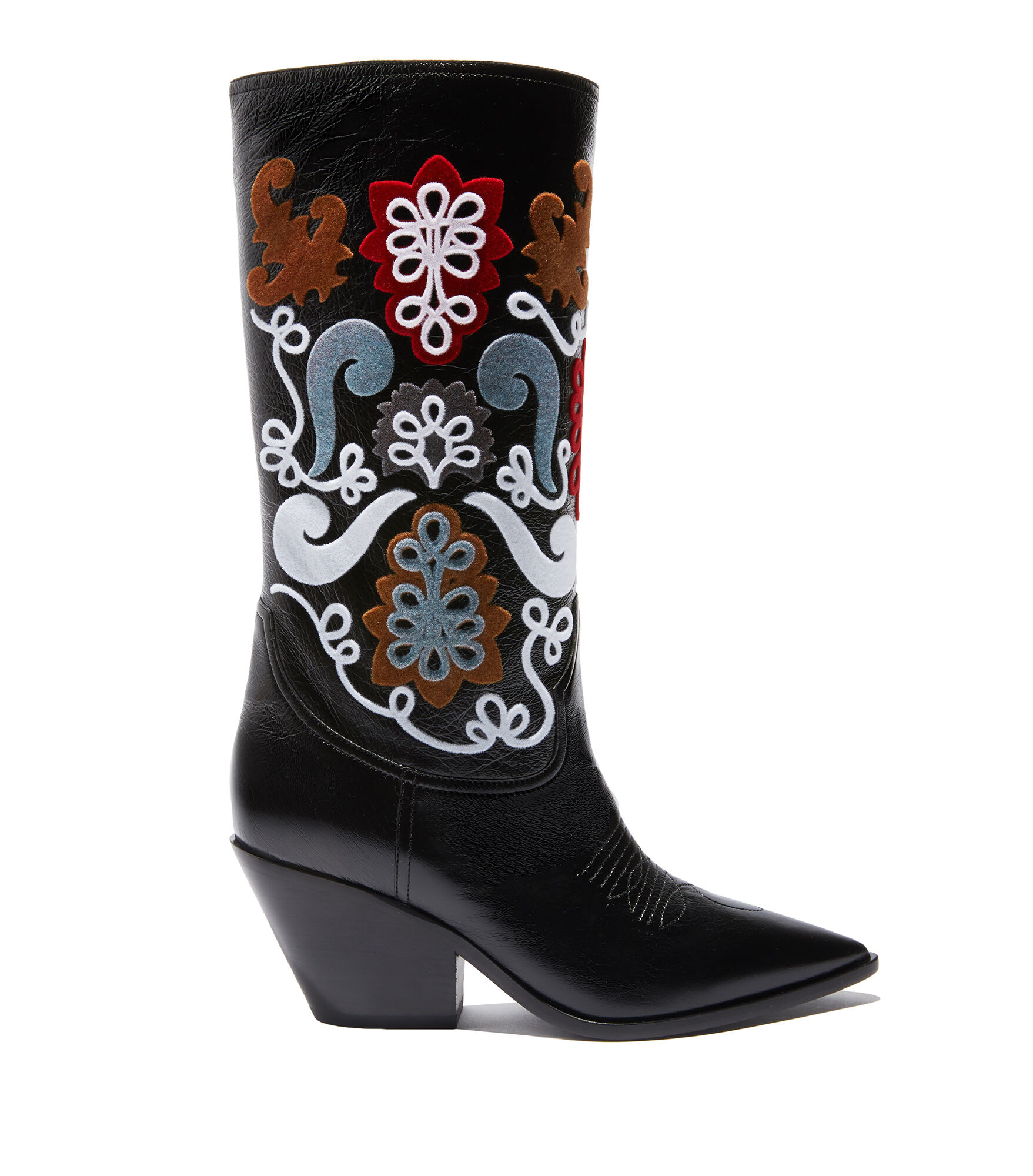 Casadei High Boots - West Black Calf leather and velvet