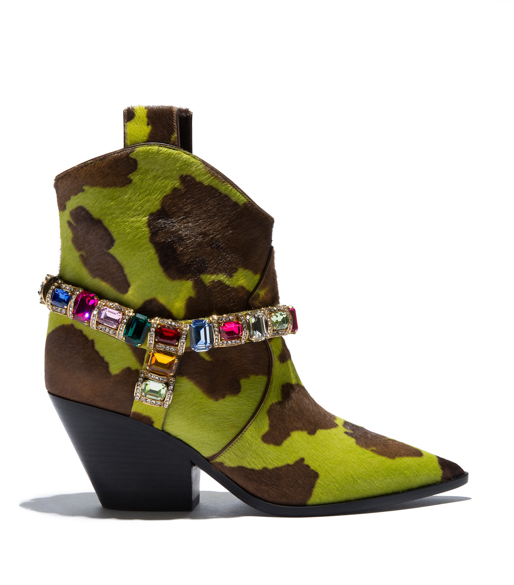 Casadei Ankle Boots - Rodeo Choco et Greenery Faux Pony Hair