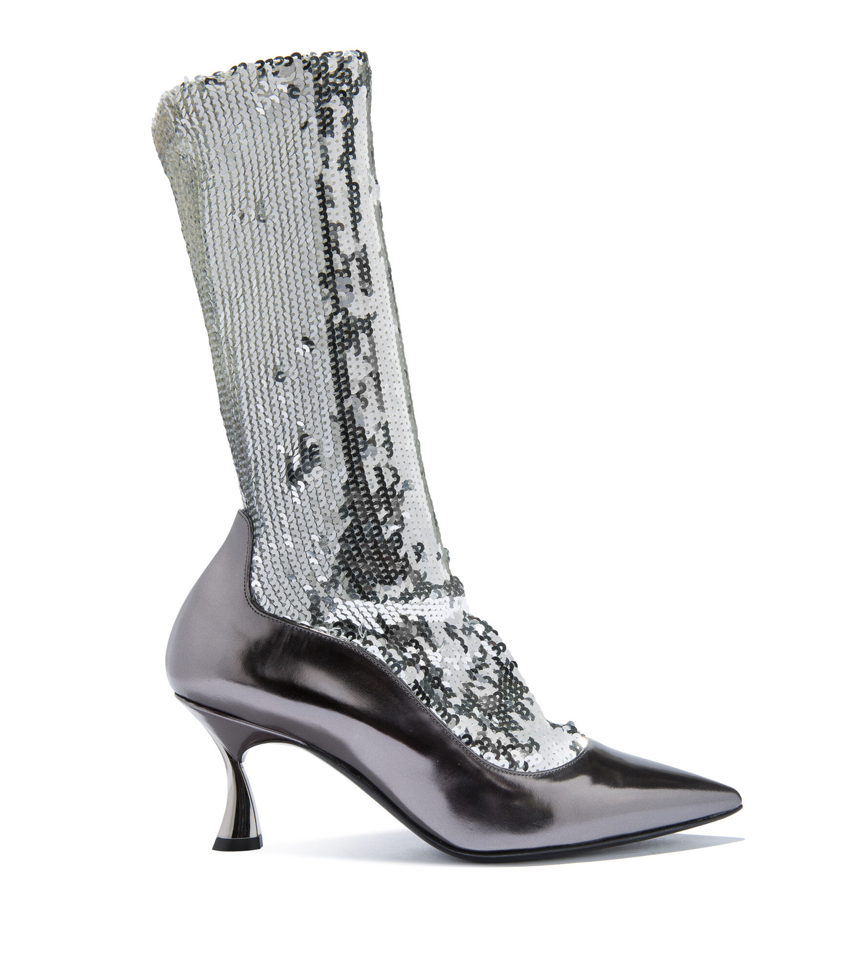 Casadei Ankle Boots - Kitten Blade Zinc Elasticated socks covered in sequins