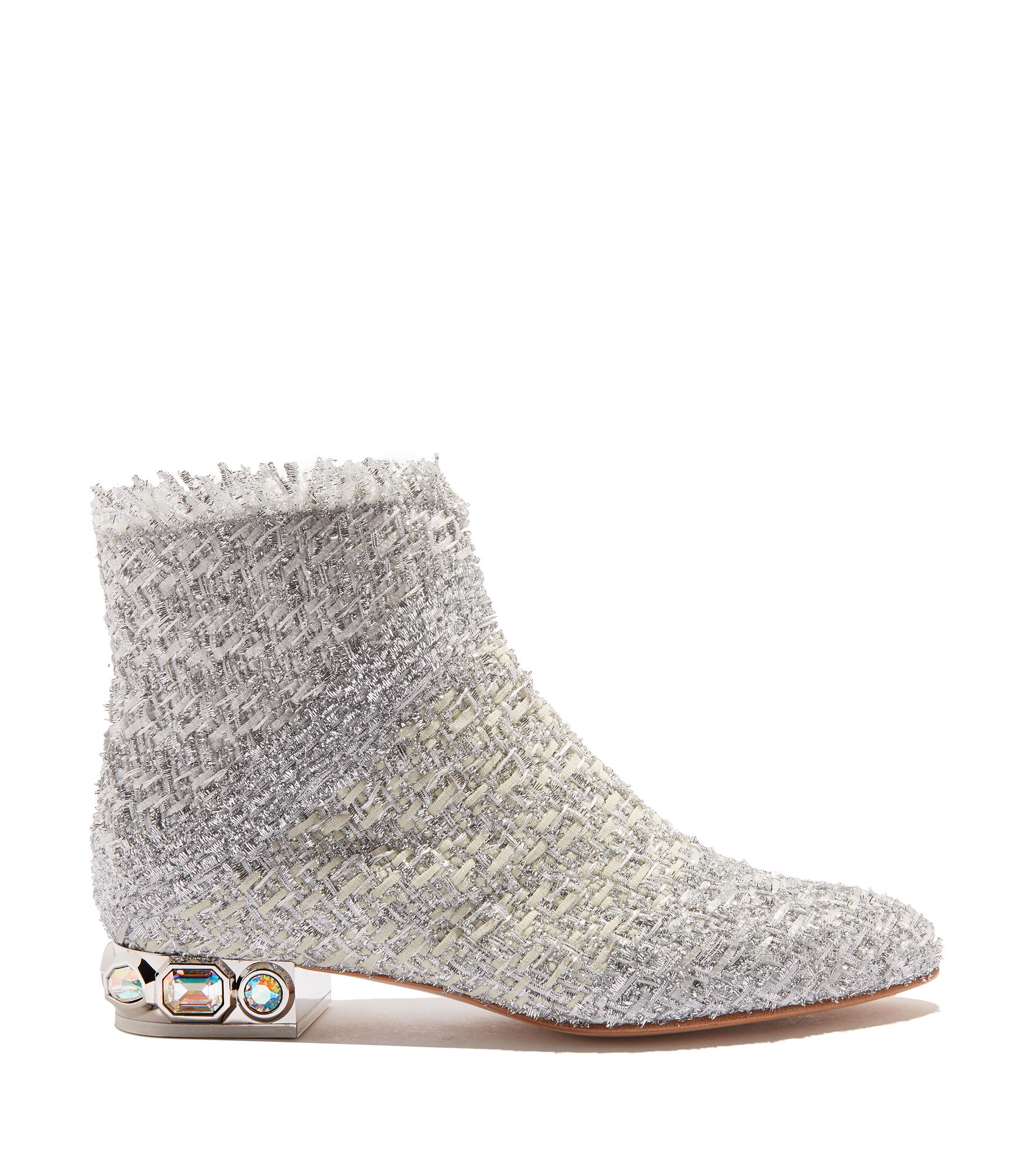 Casadei Ankle Boots - Bisanzio Silver Lola : fabric entwined with lurex strings