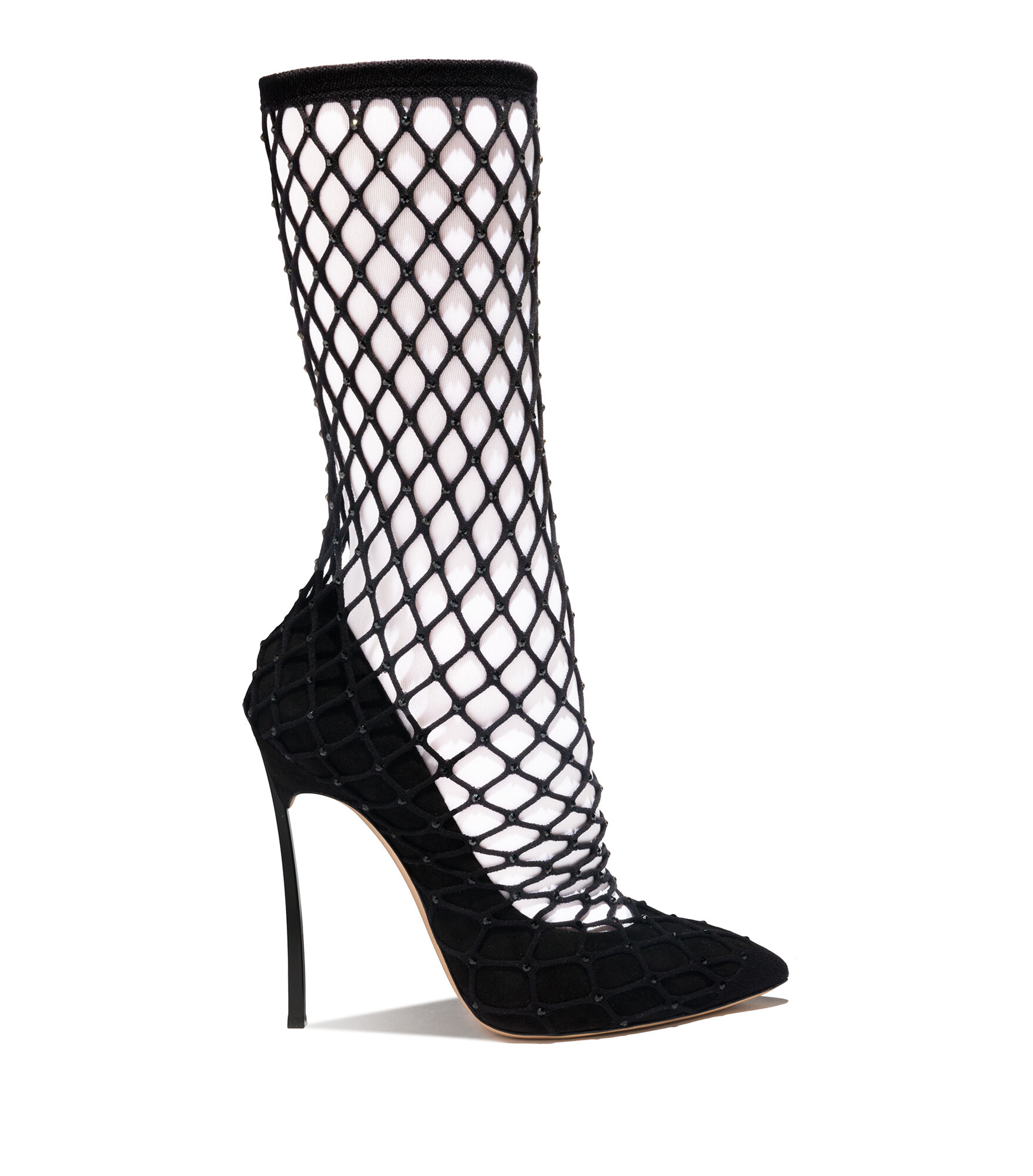Casadei Ankle Boots - Blade Spider Girl Black Suede and rhinestone fishnet sock