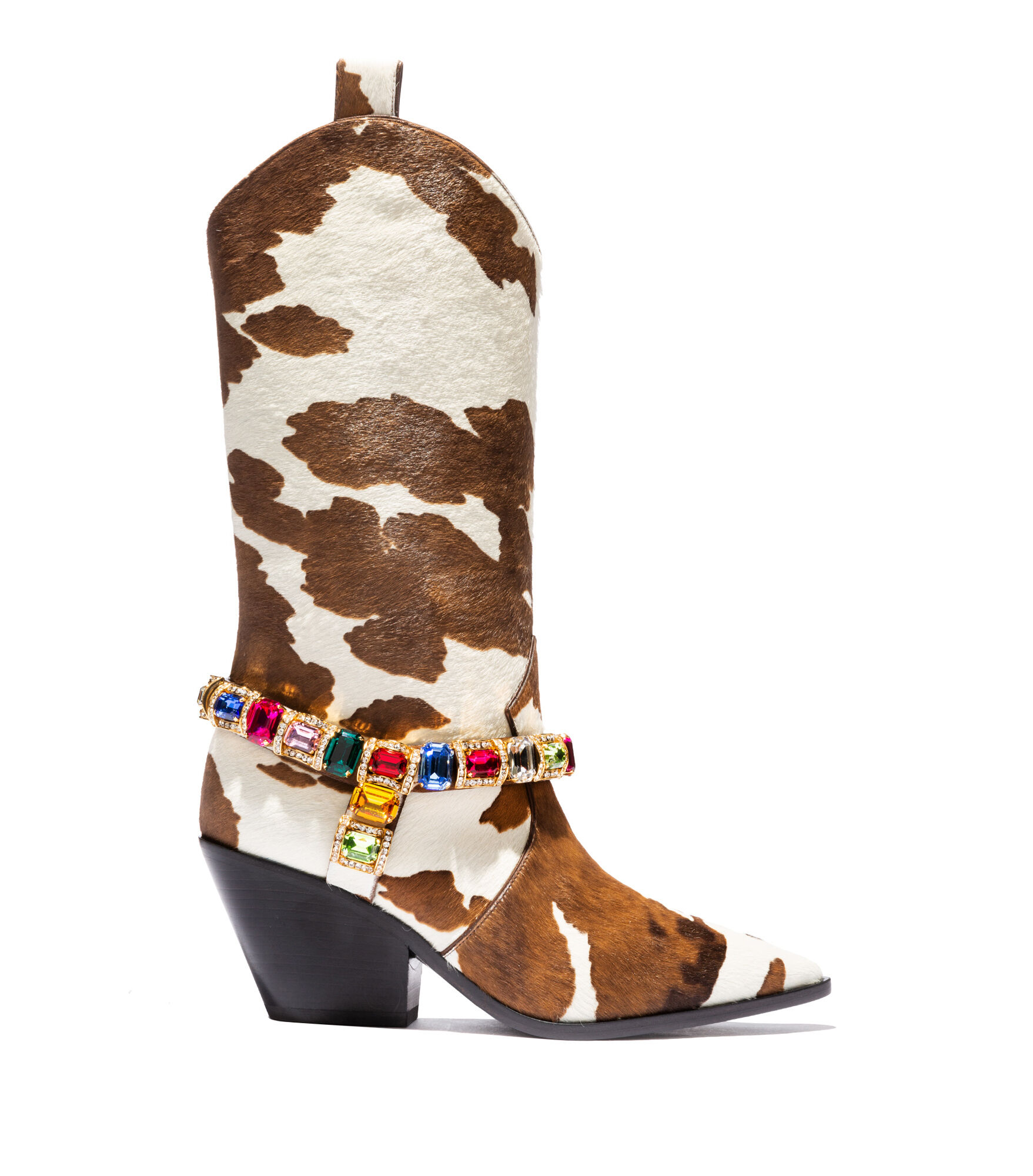 Casadei High Boots - Rodeo Choco and White Faux Pony Hair